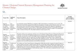 Stream 1 Regional Natural Resource Management Planning for