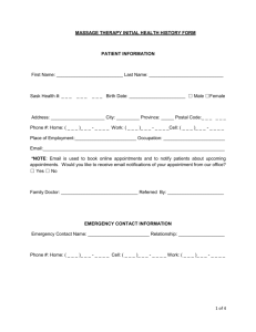 MASSAGE THERAPY INITIAL HEALTH HISTORY FORM PATIENT