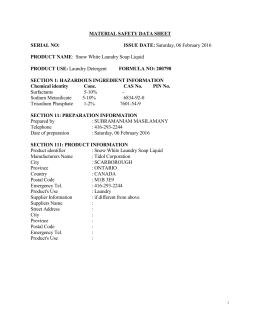 MATERIAL SAFETY DATA SHEET SERIAL NO: ISSUE DATE: Friday