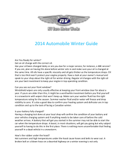 2014 Automobile Winter Guide Are You Ready for winter? Get an oil