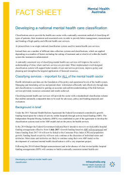 Developing a national mental health care classification