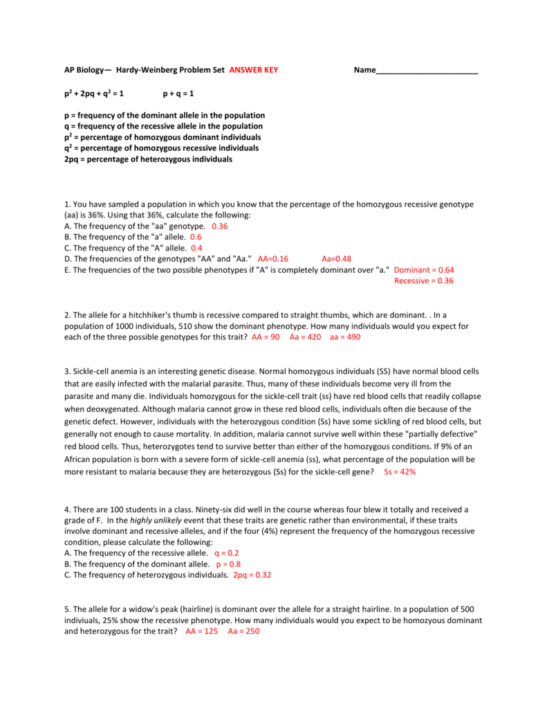 HardyWeinberg Problem Set ANSWER KEY Name – Hardy Weinberg Practice Problems Worksheet with Answers