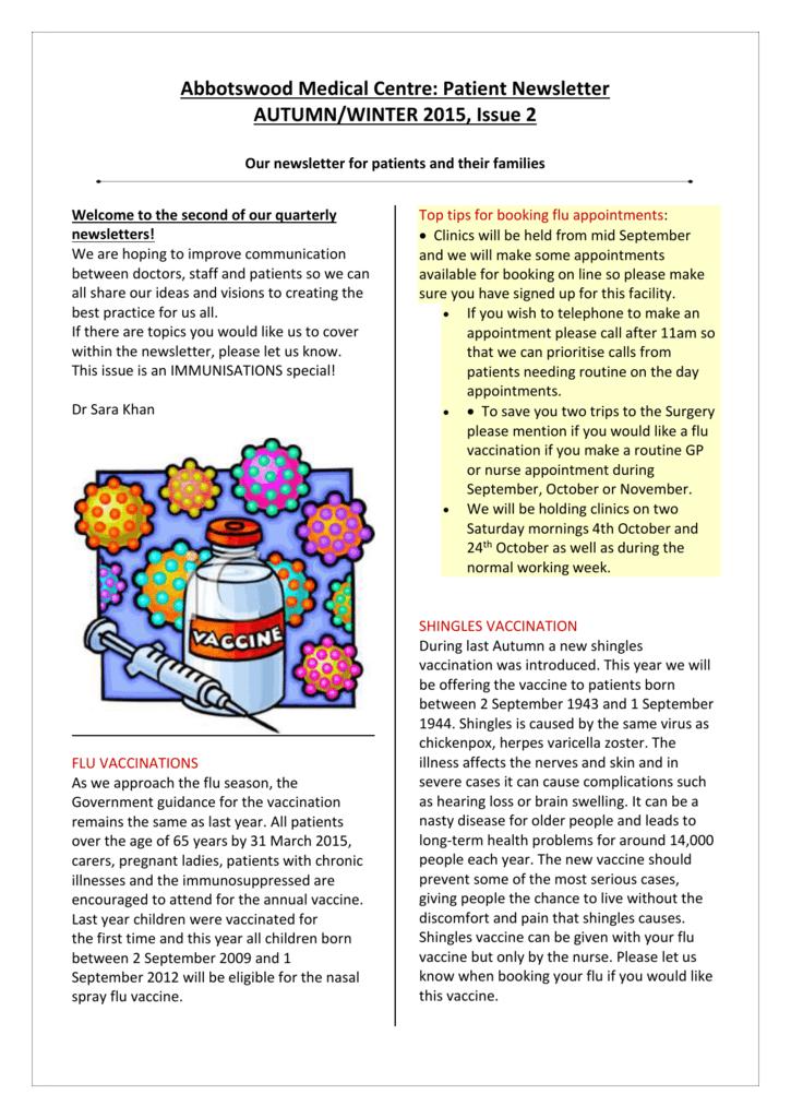 patient newsletter autumn winter 2015