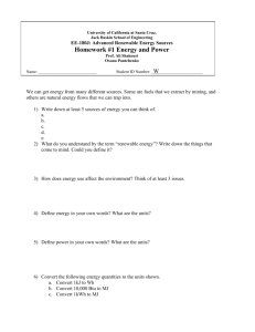 Hmwk 1 on Energy and Power
