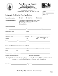 Lodging Residential Care Application - Health Department