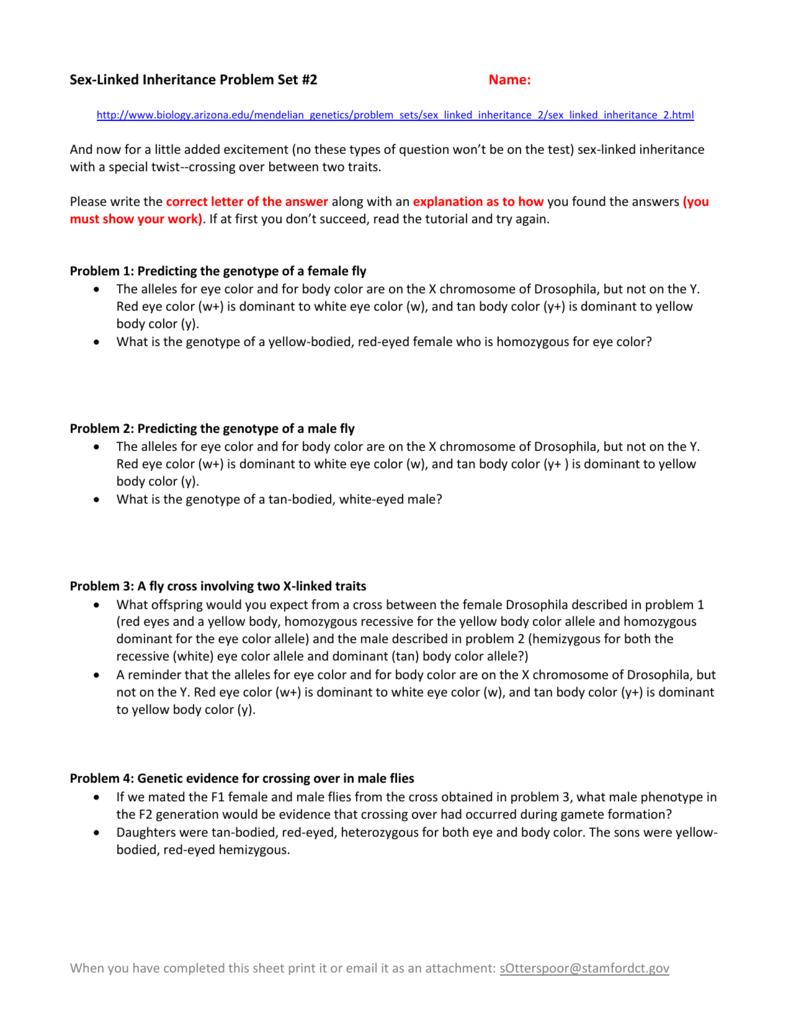 worksheet Sex Linked Inheritance Worksheet sex linked inheritance problem set 2