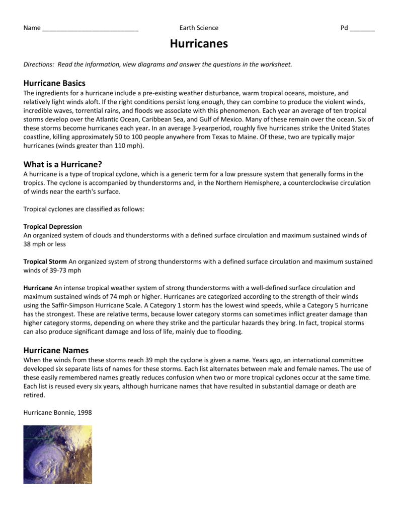 Worksheets Hurricane Worksheets hurricanes worksheet