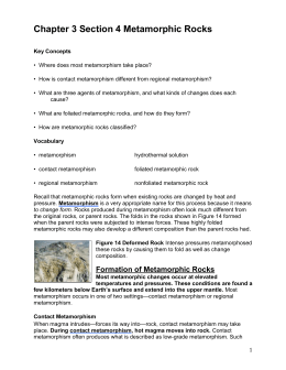 3.4 Metamorphic Rocks Reading and Qs