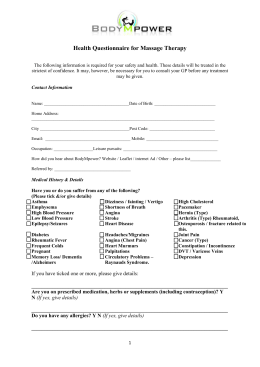 Health Questionnaire for Massage Therapy with a