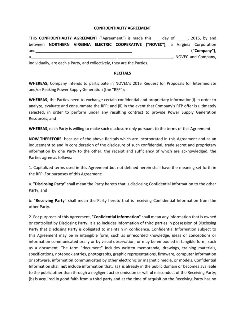 Confidentiality Agreement Rfp Generator