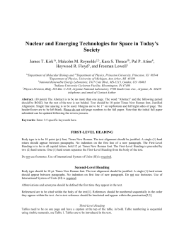 Nuclear and Emerging Technologies for Space in Today`s Society