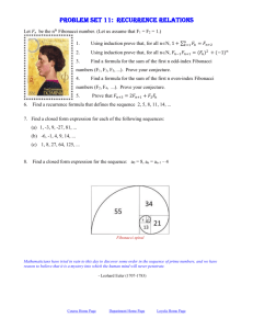 Problem set 11: recurrence relations