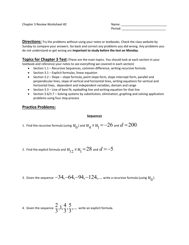 Explicit And Recursive Sequences Practice Worksheet Sewdarncute