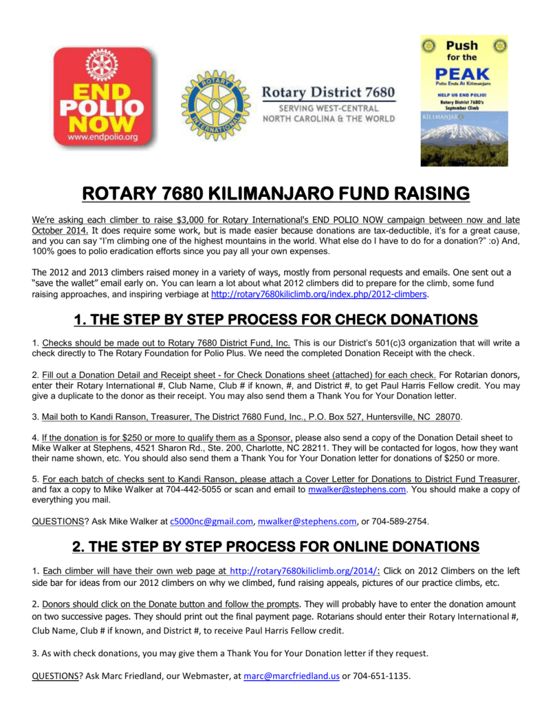 Fund Raising  Helpful Hints  Rotary  Kilimanjaro Climb For Polio