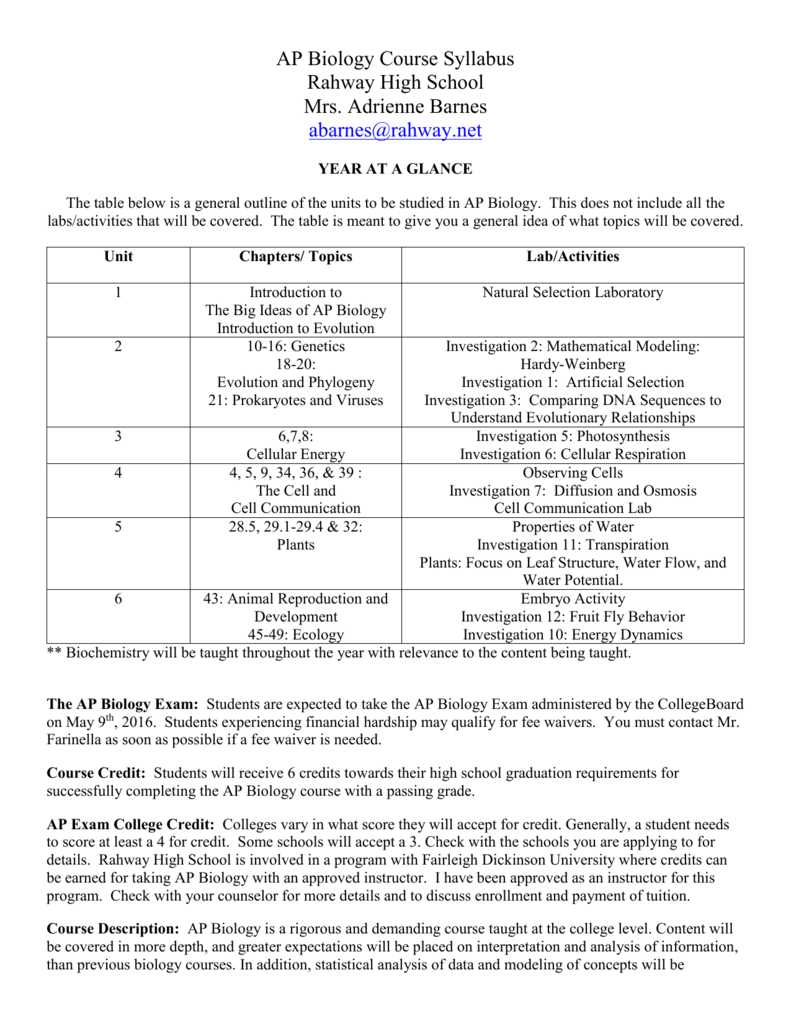 AP Biology 2015-16 Course Syllabus