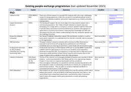 Existing people exchange programmes