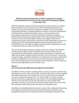 IBON International Post 2015 Submission on Food