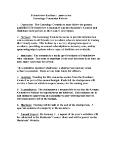 Committee Policy. - Resident Committees