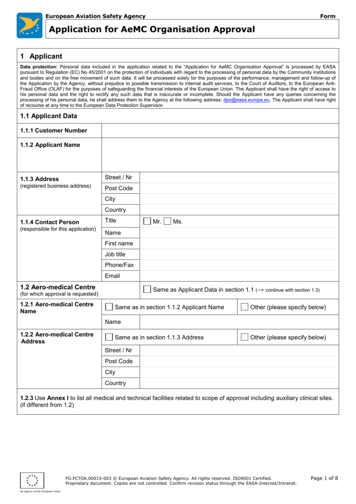 FO AEMCA 00015 - Application for a Part-ORA - EASA
