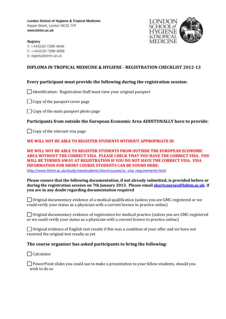 registration checklist - London School of Hygiene & Tropical