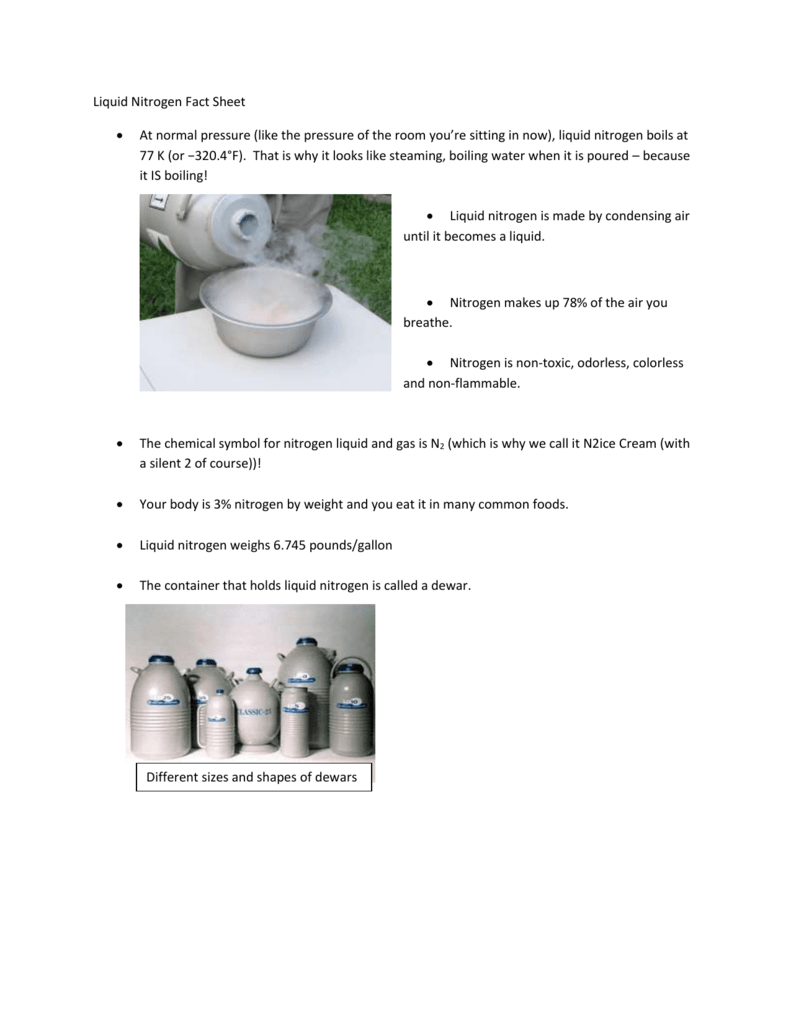 Liquid Nitrogen Fact Sheet At Normal Pressure Like The Pressure Of