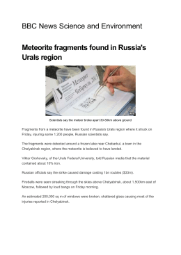 Meteorite Fragments found in Russia`s Ural`s