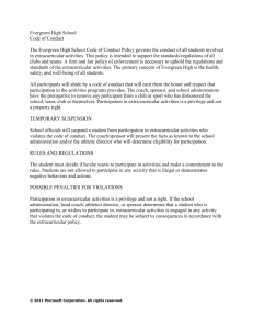 Evergreen High School Code of Conduct The Evergreen High