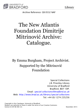 Mitrinovic New Atlantis Archive Catalogue November 2015