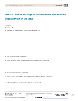 Lesson 1: Positive and Negative Numbers on the Number Line