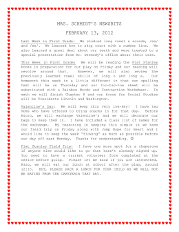MRS. SCHMIDT`S NEWSBITS FEBRUARY 13, 2012 Last Week in