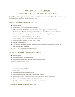 Waterbury 12th grade Student Success Plans at Grade 12 Student