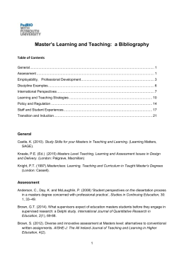 Masters Level Teaching: a Bibliography