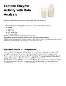 Lactase Enzyme Activity - with Data Analysis