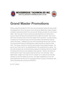 Grand Master Promotions - Woodbridge Taekwon-Do