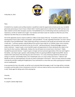 HSJHS MARCH BREAK 2014FundraisersSikorski letter of