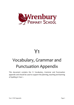 Y1 Vocabulary, Grammar and Punctuation Appendix This document