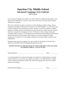 Advanced Language Arts Contract