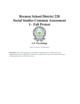 Time-55 minutes, 100 Questions - Bremen High School District 228