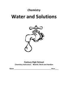 Water and Solutions - Century High School
