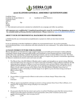 General Assembly Questionnaire - Sierra Club, Illinois Chapter