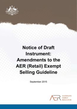 Amendments to AER (Retail) Exempt Selling Guideline