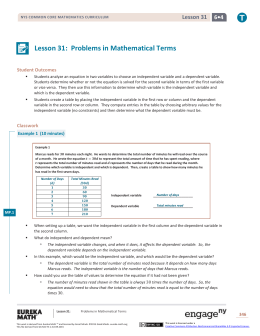 Lesson 31: Problems in Mathematical Terms