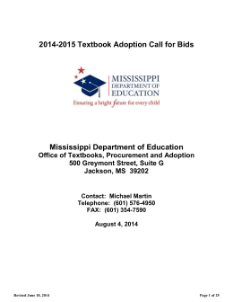2014-2015 Textbook Adoption Call for Bids