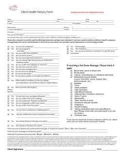Health History Form - Rejuvenate Today Massage & Wellness