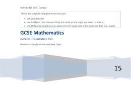 Maths Foundation Tier – Questions