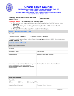 Interment Burial rights application form May 2015