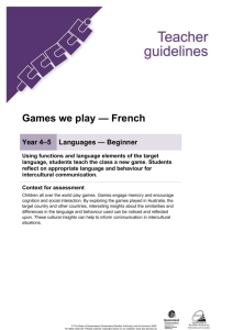 Year 4-5 Languages assessment teacher guidelines | Games we