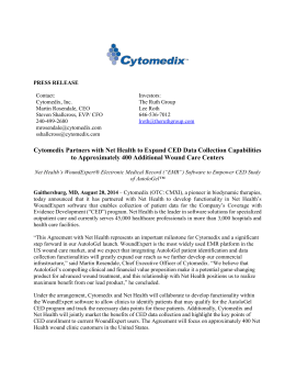Cytomedix Partners with Net Health to Expand CED Data