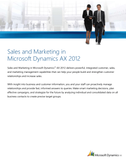 Sales and Marketing in Microsoft Dynamics AX 2012