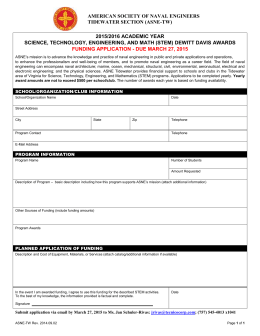 STEM Award Application - ASNE Tidewater Section